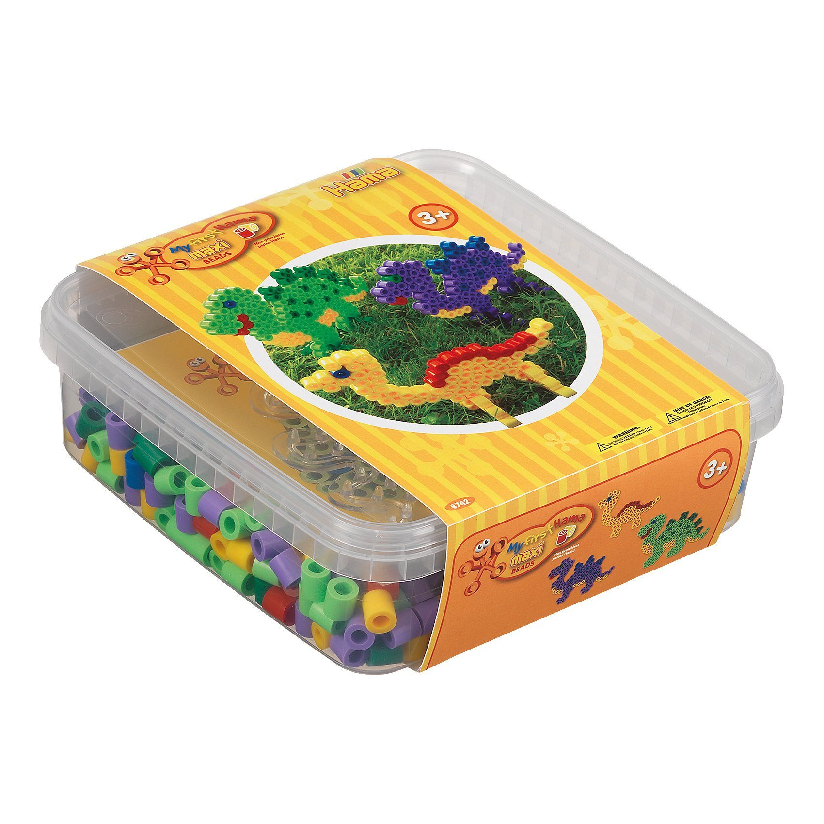 Hama Perlen HAMA 8742 Box gelb, 600 maxi-Perlen & Zubehör