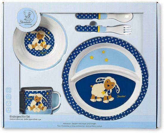 Sterntaler® Kindergeschirr-Set »Stanley« (5-tlg), Polypropylen, mit Löffel und Gabel