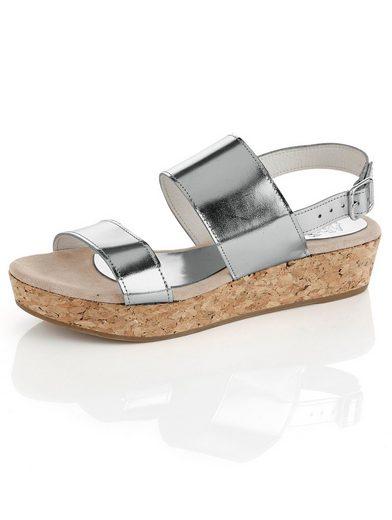 Alba Moda Sandalette mit Korksohle in Metallic-Optik