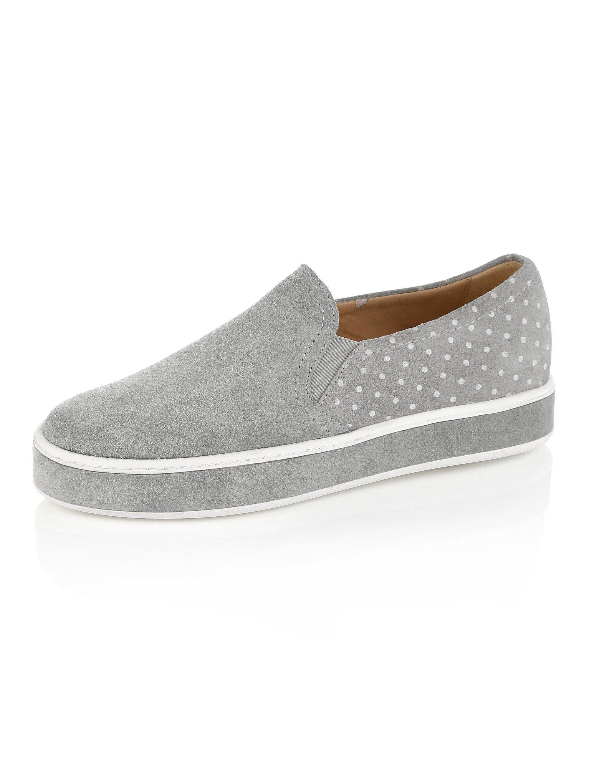 Alba Moda Slipper aus hochwertigem Veloursleder  grau-weiß