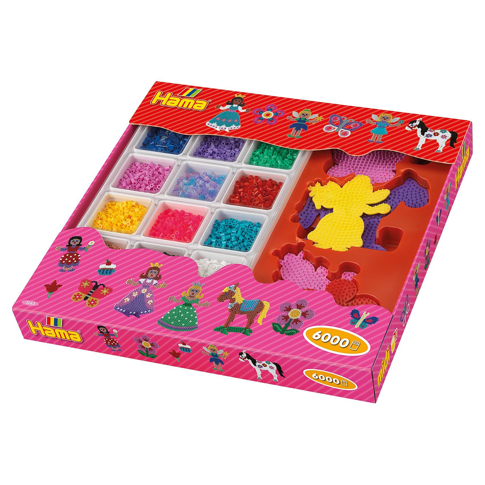 Hama Perlen HAMA 3063 Super Geschenkset pink, 6.000 midi-Perlen & Zubehö