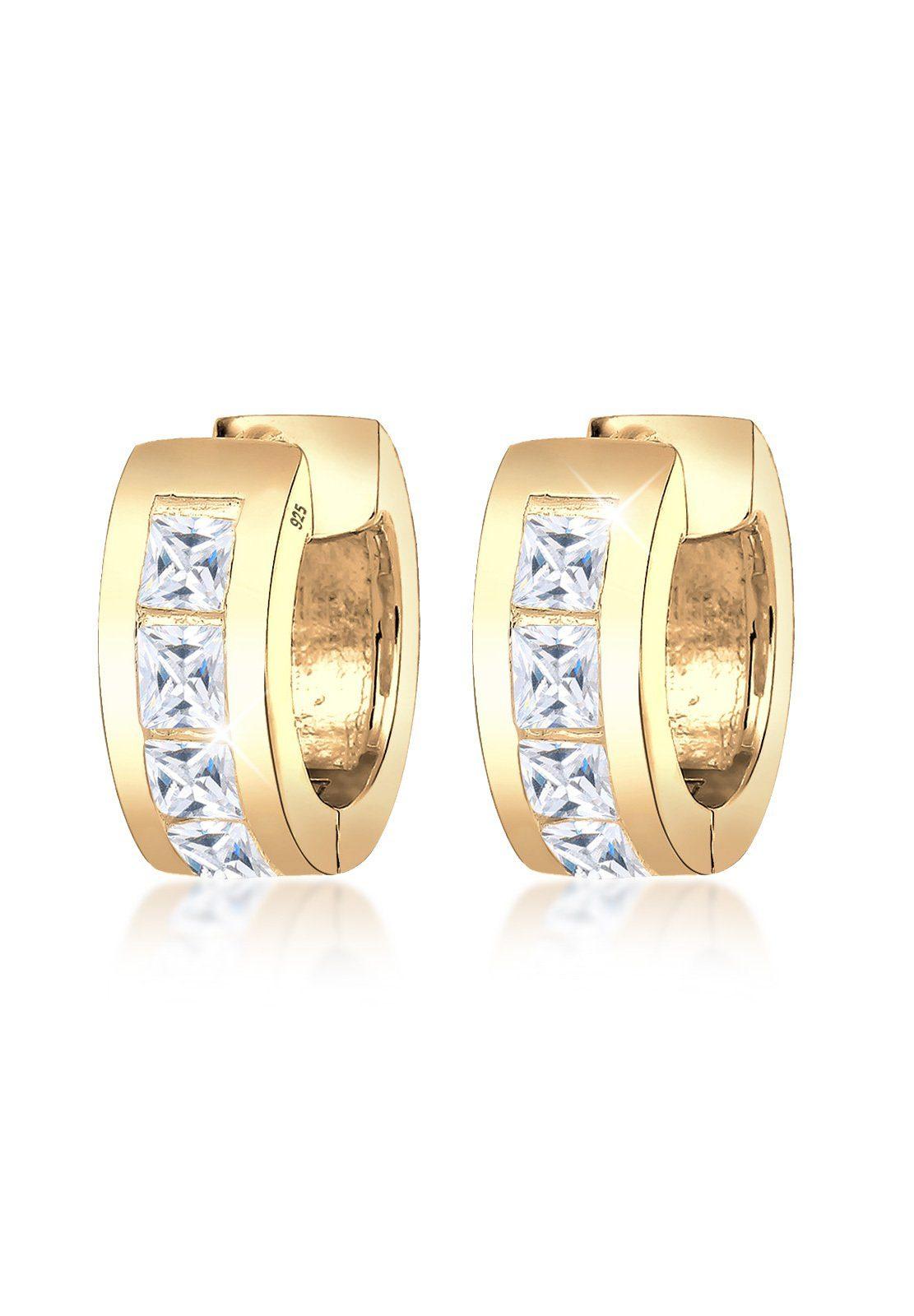 Goldhimmel Ohrringe »Creolen Zirkonia Kristalle 925 Silber vergoldet«