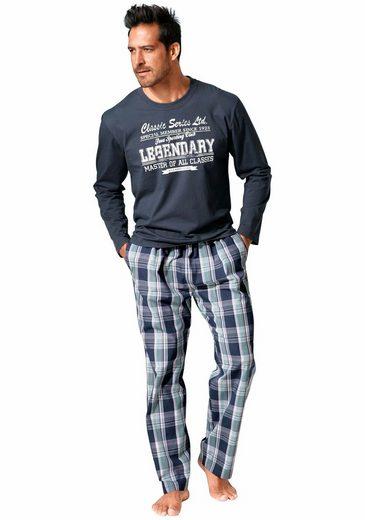 H.I.S Pyjama, in langer Form mit Karo-Webhose