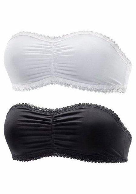 PETITE FLEUR Bandeau-BH (2 Stück) ohne Bügel, mit hübscher Raffung vorne | Unterwäsche & Reizwäsche > BHs > Bandeau-BHs | PETITE FLEUR