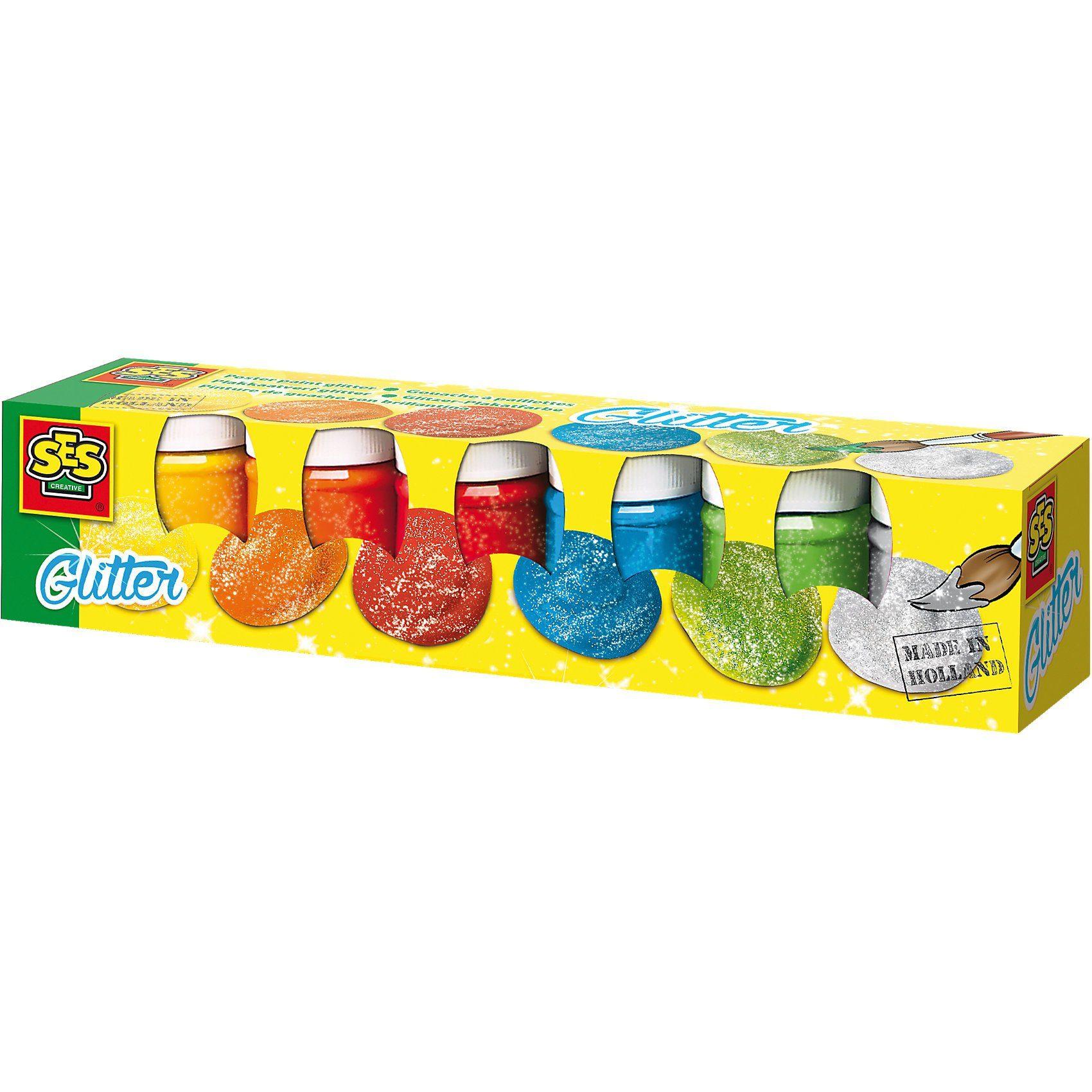 SES Creative Plakatfarben Glitzer, 6 x 50 ml