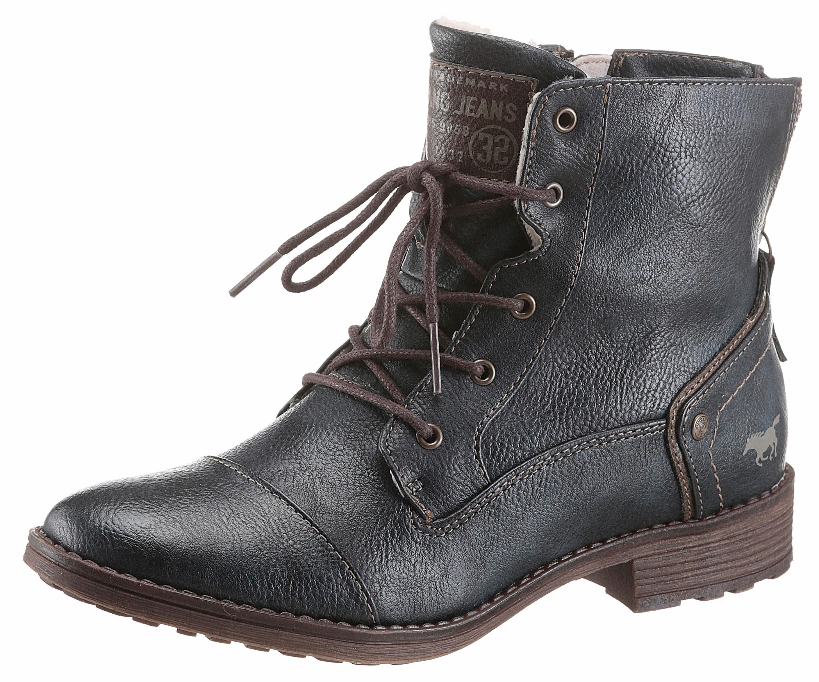 Mustang Shoes Schnürstiefelette, in schlichter Linie online kaufen  dunkelblau