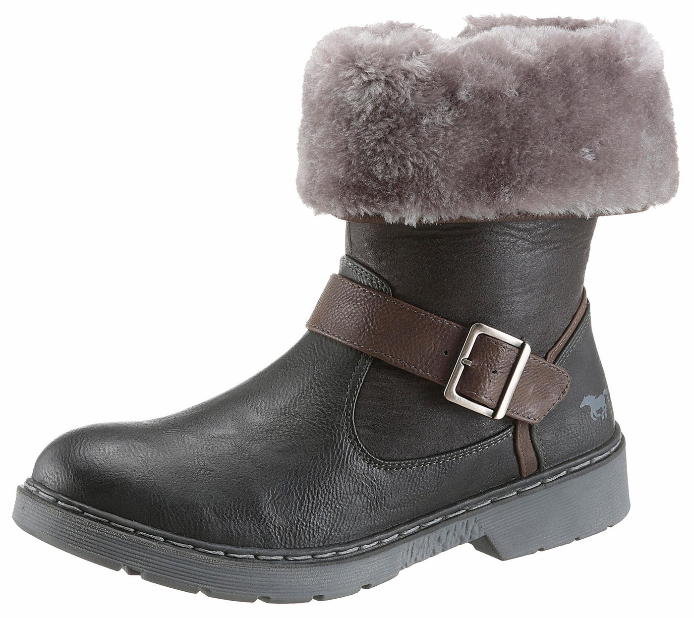 Mustang Shoes Winterstiefelette, hoch- und umgeschlagen tragbar   Schuhe > Stiefeletten > Winterstiefeletten   Grau   Mustang Shoes