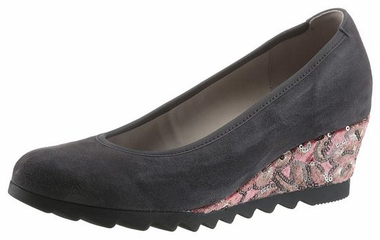 Gabor Pumps, With Embroidery In The Wedge Heel