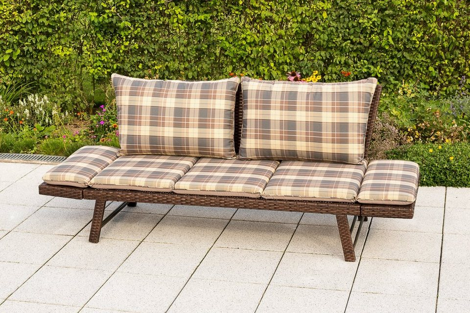 gartenbank daybed rattan polyrattan 172x64x78 cm braun inkl wendeauflagen online kaufen. Black Bedroom Furniture Sets. Home Design Ideas