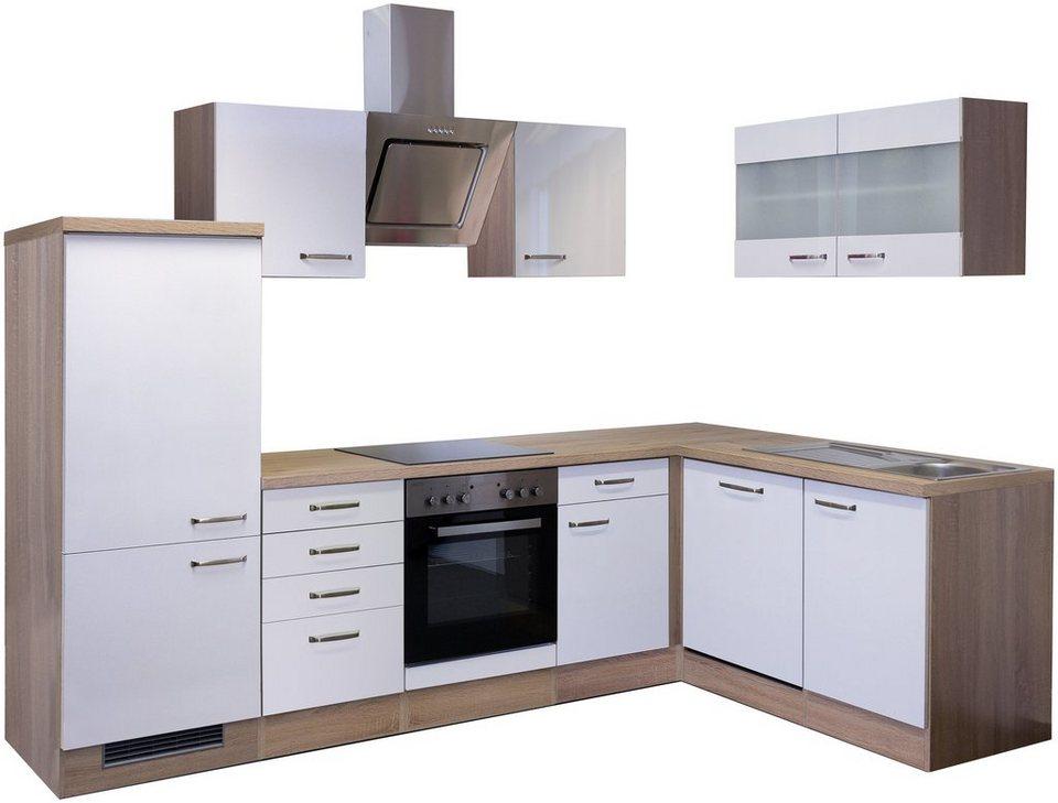 Küchenzeile 160 cm  Winkel-Küchenzeile mit E-Geräten »Florenz«, Breite 280 x 160 cm ...
