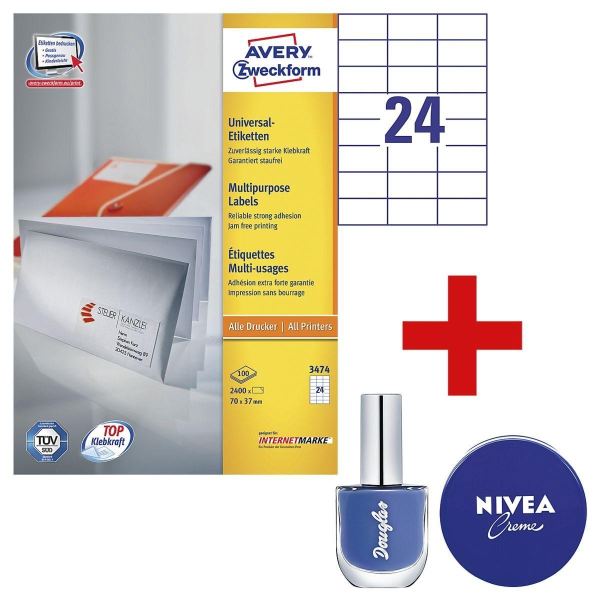 Avery Zweckform 2400er-Pack Universal Klebeetiketten inkl. Douglas Nagellack ... »3474« 1 Set