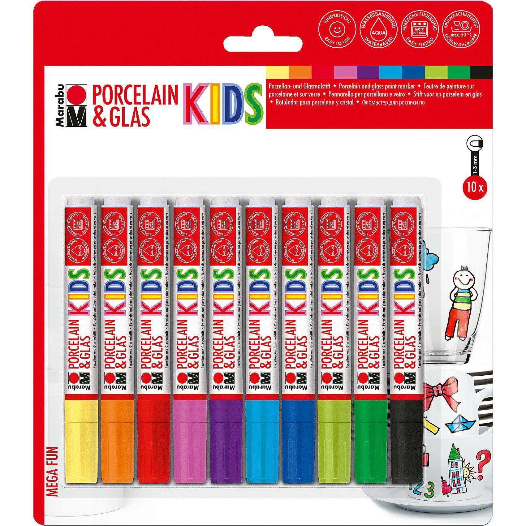 Marabu Porzellan- & Glasmalstifte Kids Mega Fun, 10 Stück