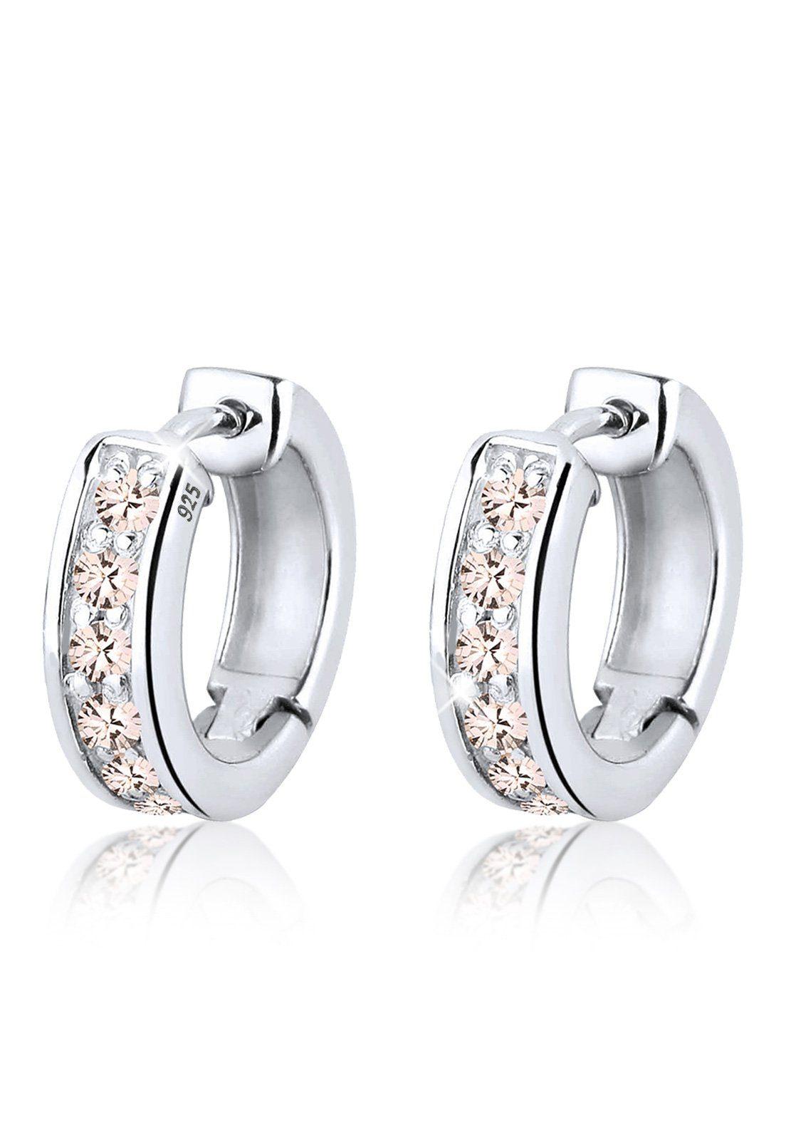 Elli Ohrringe »Creolen Funkelnd Swarovski® Kristalle 925 Silber«