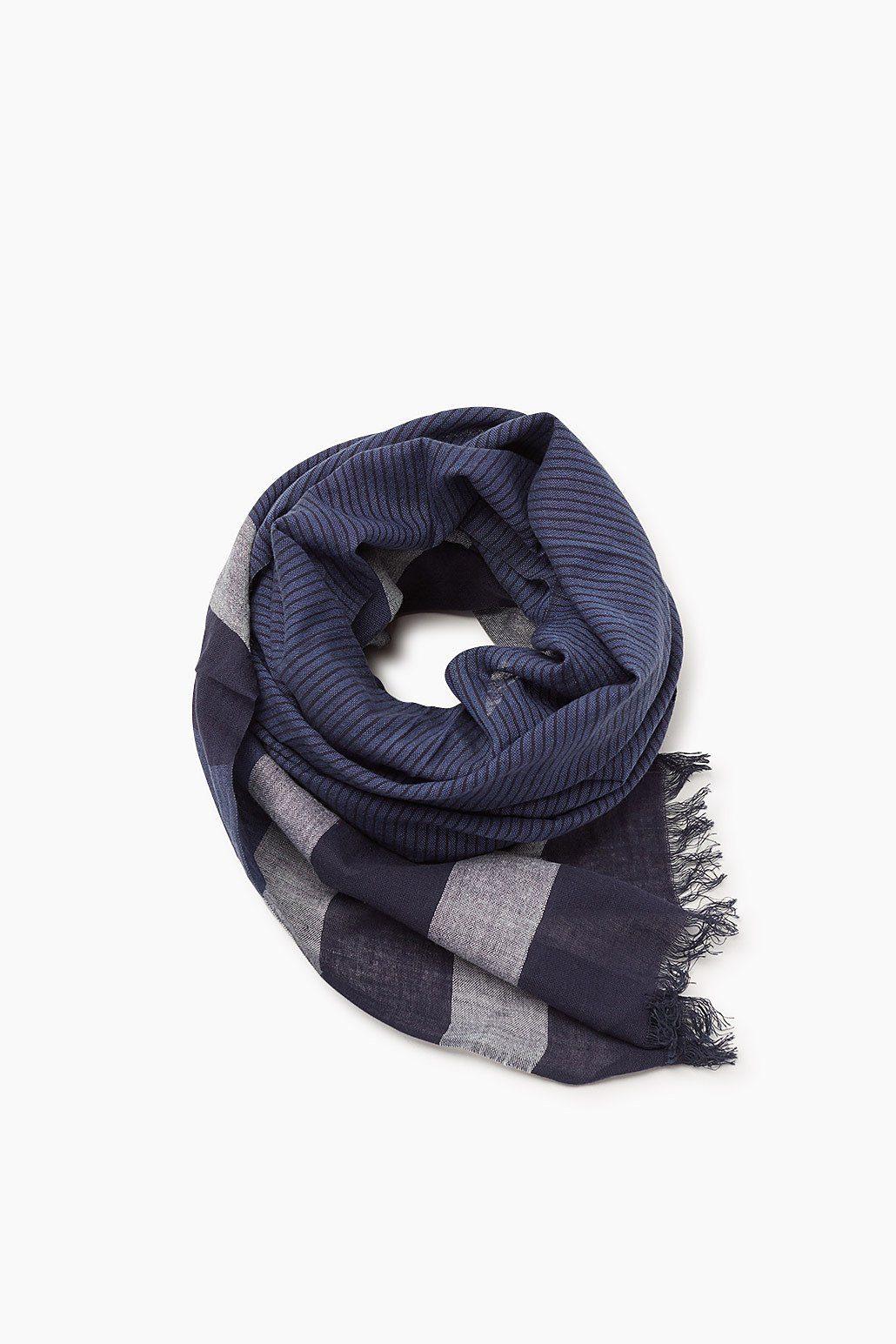 ESPRIT CASUAL Gestreifter Web-Schal, 100% Baumwolle