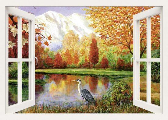 Home affaire Leinwandbild »S., A.: Herbst am See«, 100/70 cm
