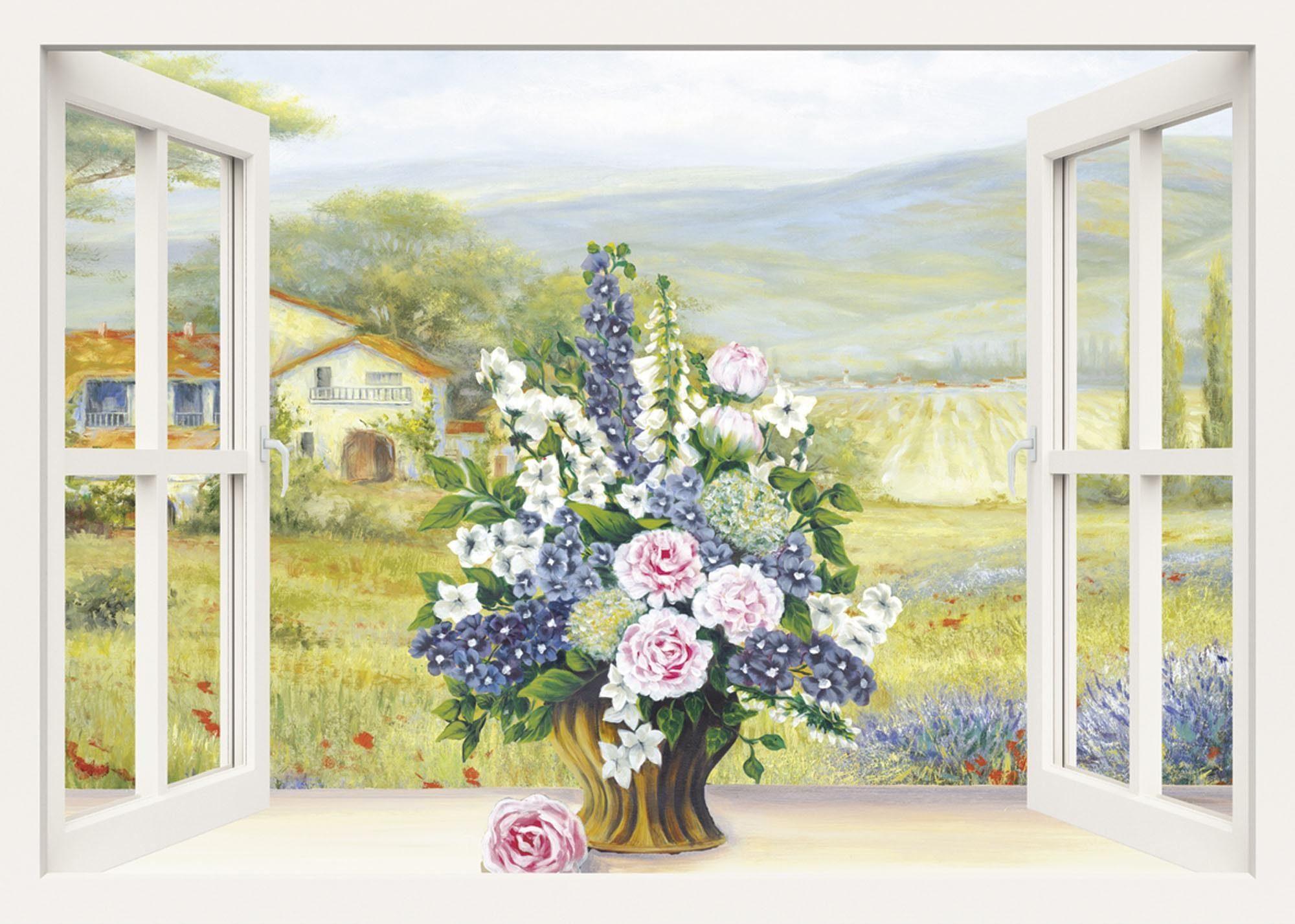 Home affaire Leinwandbild »Heins, A.: Blumenbouquet am weißen Fenster«, Landschaft, Blumen, 100/70 cm