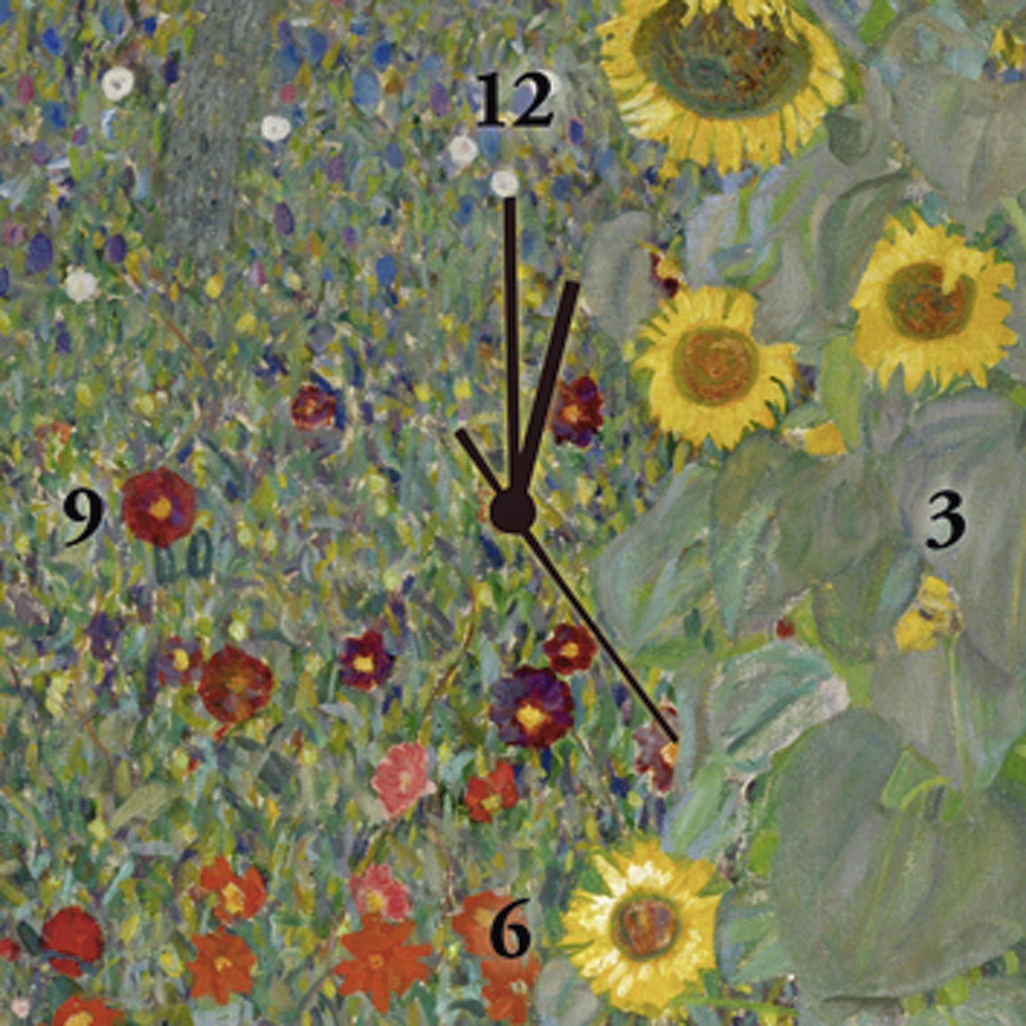Home affaire Uhr »Klimt, G.: Garten mit Sonnenblumen«, 30/30 cm