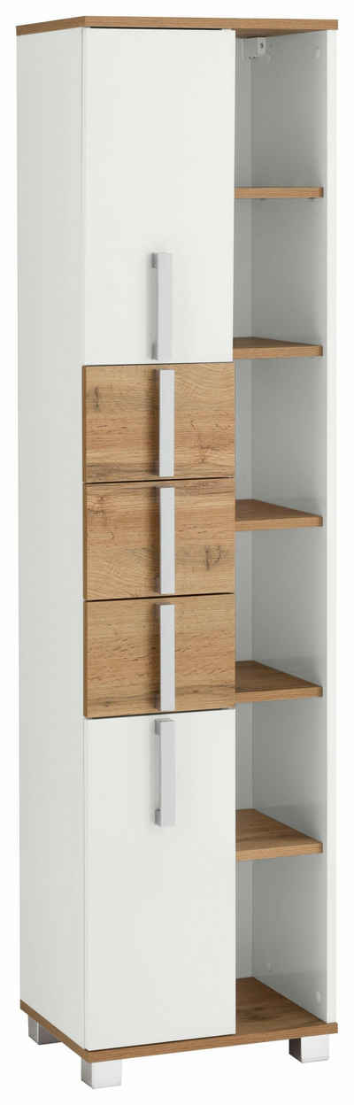 Schildmeyer Hochschrank »Kampen« Höhe 163,7 cm, Badezimmerschrank mit Metallgriffen, viel Stauraum durch offene Regalfächer, Türen mit Soft-Close-Funktion, 3 praktische Schubladen