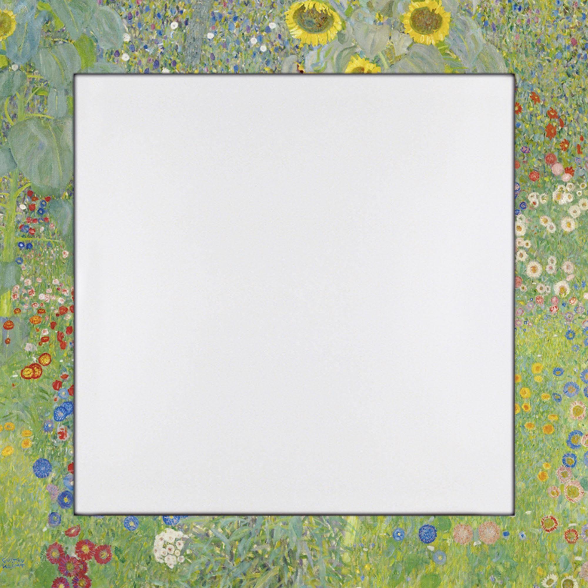 Home affaire Spiegel im Designerrahmen »Klimt, G.: Garten mit Sonnenblumen«, 66/66 cm