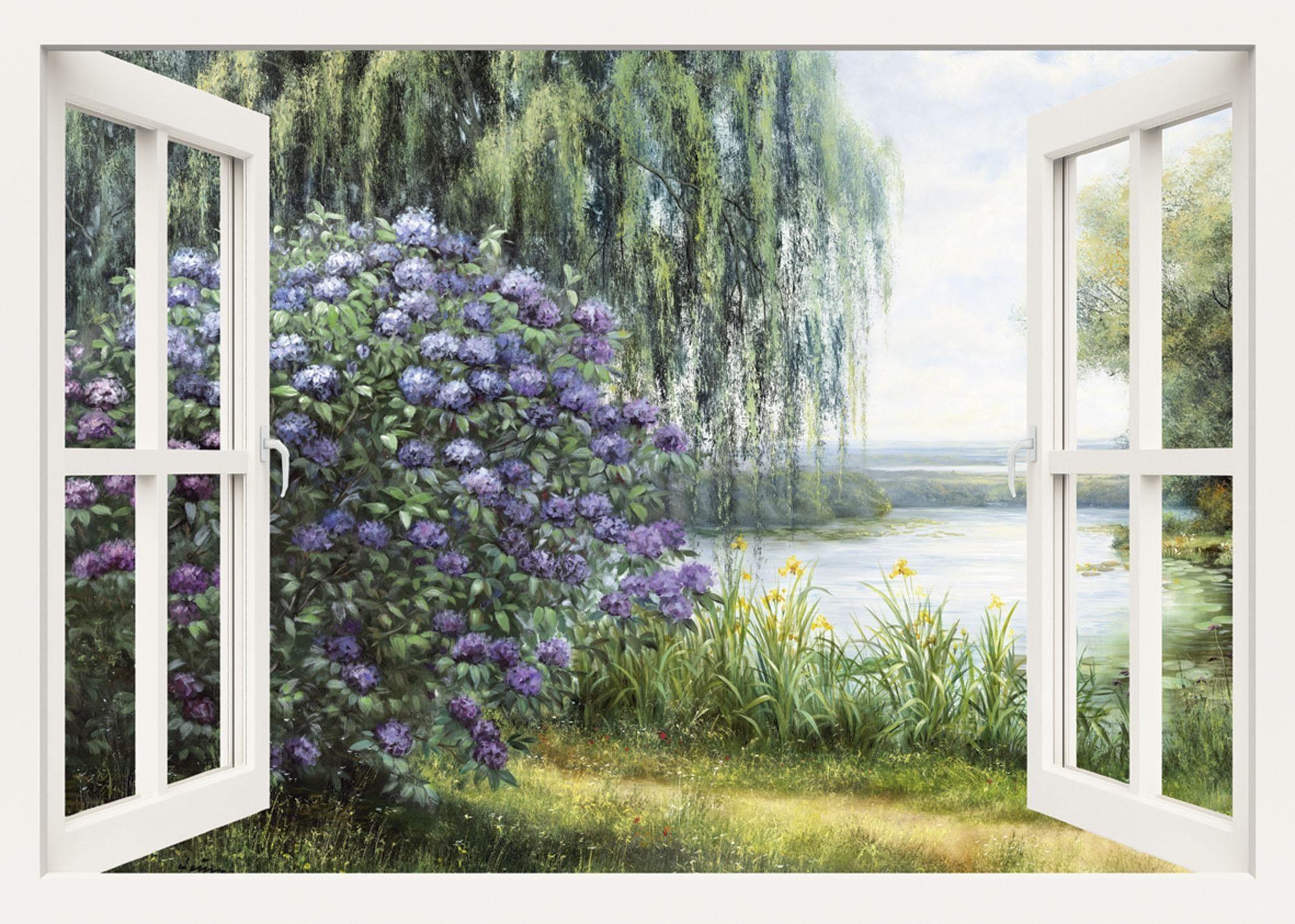 Home affaire, Leinwandbild, »Heins, A.: Hortensien am See«, 100/70 cm