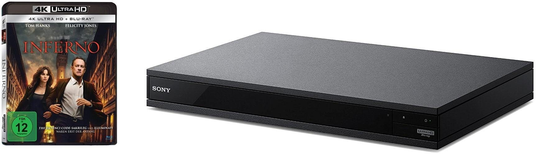 Sony UBP-X800B 4K Ultra HD Blu-ray Disc Player (UHD, High-Resolution Audio, Hi-Fi Qualität, Multi-Room, Bluetooth) incl. Inferno