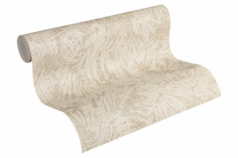 vliestapete livingwalls mustertapete mit palmenprint. Black Bedroom Furniture Sets. Home Design Ideas