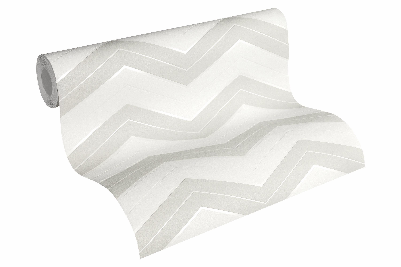 Vliestapete, »geometrisch skandinavische Tapete Designdschungel by Laura N.«, weiß, hellgrau