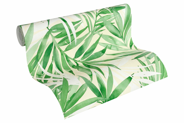 Vliestapete, »Tapete mit Palmenprint Designdschungel by Laura N.«, grasgrün, weißgrün, weiß, hellelfenbein