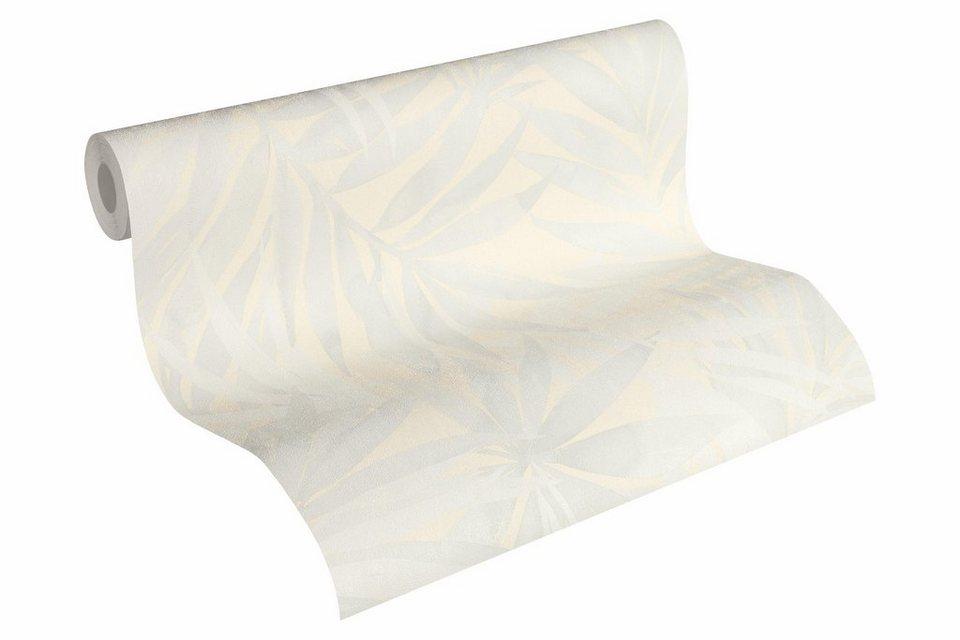 vliestapete tapete mit palmenprint designdschungel by laura n grauwei wei hellelfenbein. Black Bedroom Furniture Sets. Home Design Ideas