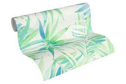 Vliestapete, »Tapete mit Palmenprint Designdschungel by Laura N.«, weißgrün, pastelltürkis, weiß, grauweiß