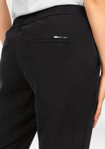 MAC Schlupfhose Easy Cropped, Joggn.Pants in weich fließender Qualität