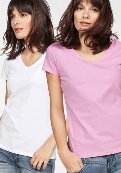 Fruit of the Loom V-Shirt »Lady-Fit Valueweight V-Neck« (Packung, 2-tlg., 2er-Pack)