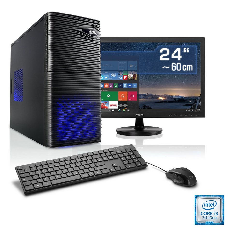csl multimedia pc set i3 7100 intel hd 630 8 gb 24 tft speed t5937 windows 10 home. Black Bedroom Furniture Sets. Home Design Ideas