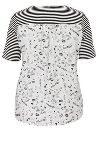 VIA APPIA DUE Ringel-T-Shirt mit gemustertem Blusen-Rücken
