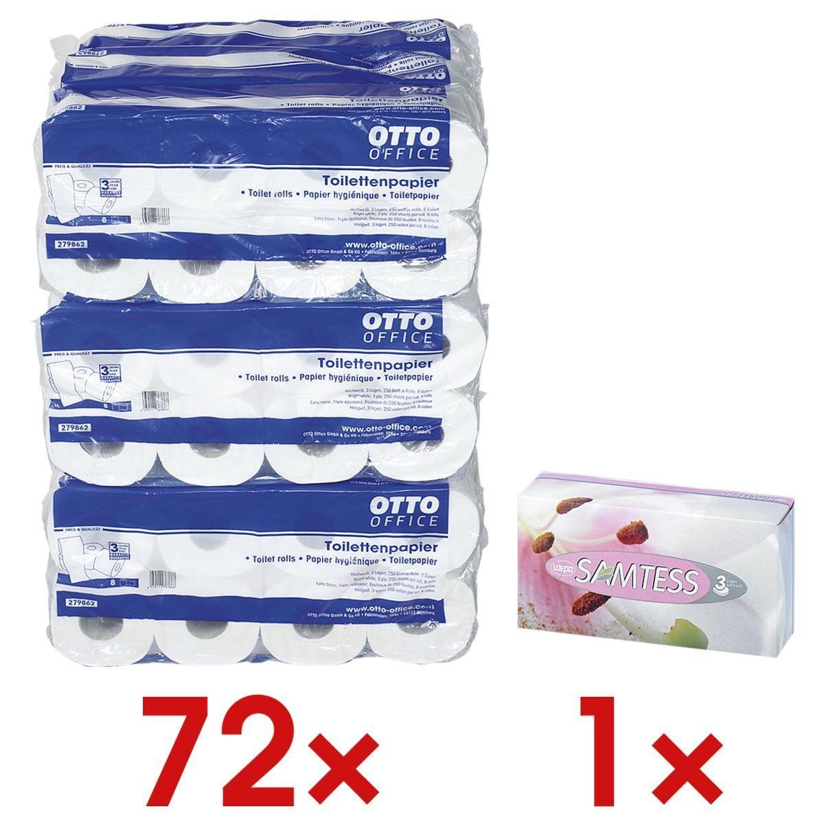 OTTOOFFICE STANDARD Toilettenpapier 3-lagig - 72 Rollen inkl. Kosmetiktücher 1 Set