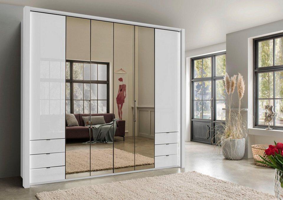 wiemann kleiderschrank mit glas und spiegel inkl schubk sten online kaufen otto. Black Bedroom Furniture Sets. Home Design Ideas