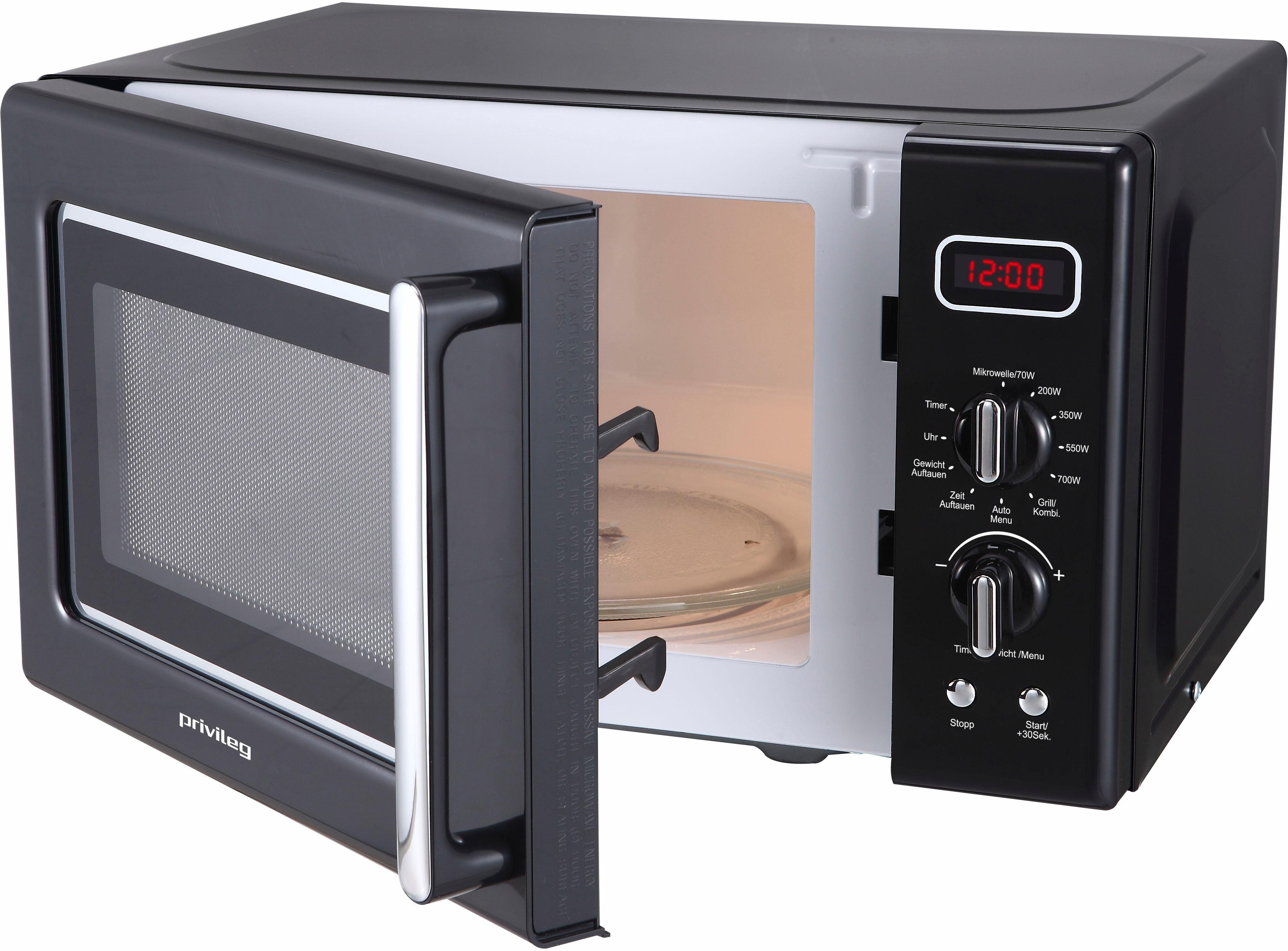 Privileg Mikrowelle, mit Grill, 20 Liter Garraum, 700 Watt, schwarz