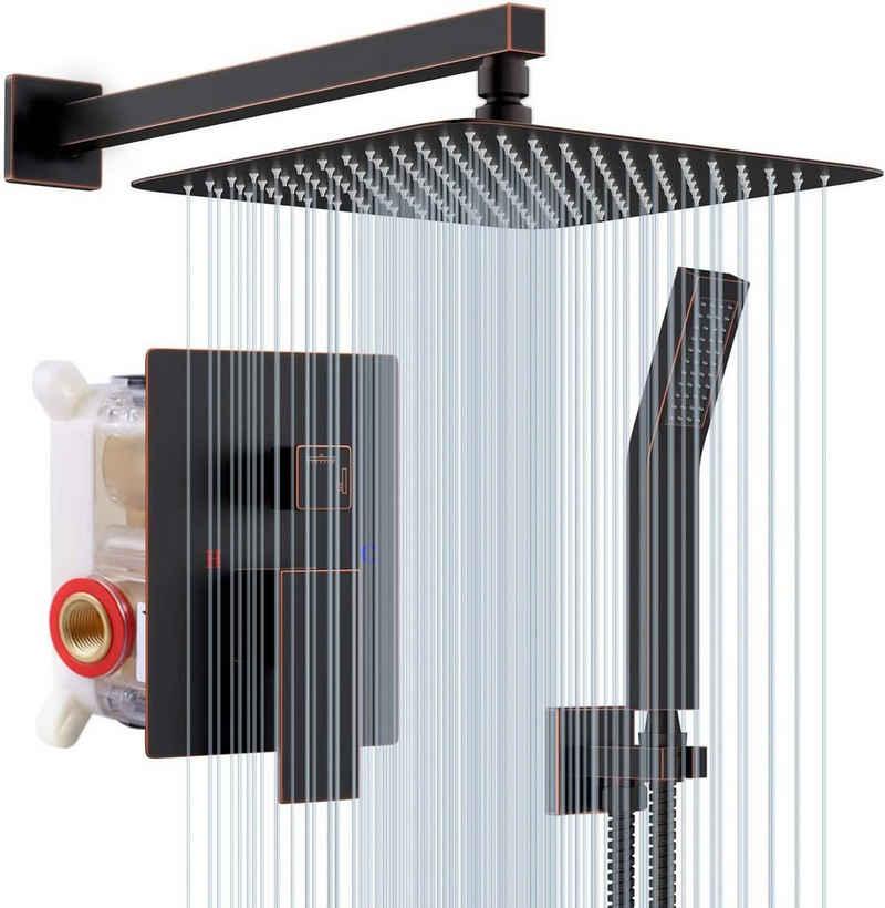 Rainsworth Duschsystem »Picobello«, Höhe 40 cm, 9 tlg., Duschsystem Unterputz- Öl eingerieben Bronze - Hochmoderne Air Injection-Technologie - 25 * 25CM Quadratischer Regenduschkopf - Messing und Edelstahl