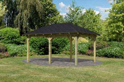 Karibu Pavillon »Perida«, (Set), BxTxH: 345x485x296 cm, mit schwarzen Dachschindeln