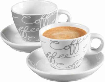 Ritzenhoff & Breker Espressotasse »Cornello Grey«, Porzellan, 2 Tassen, 2 Untertassen
