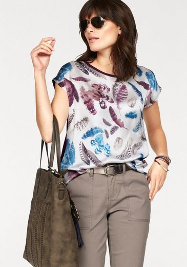 Boysen's Blusenshirt, mit Feder-Print