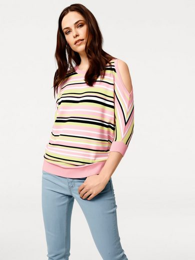 Rick Cardona By Heine Stripe Sweaters With Sleeveless Slit