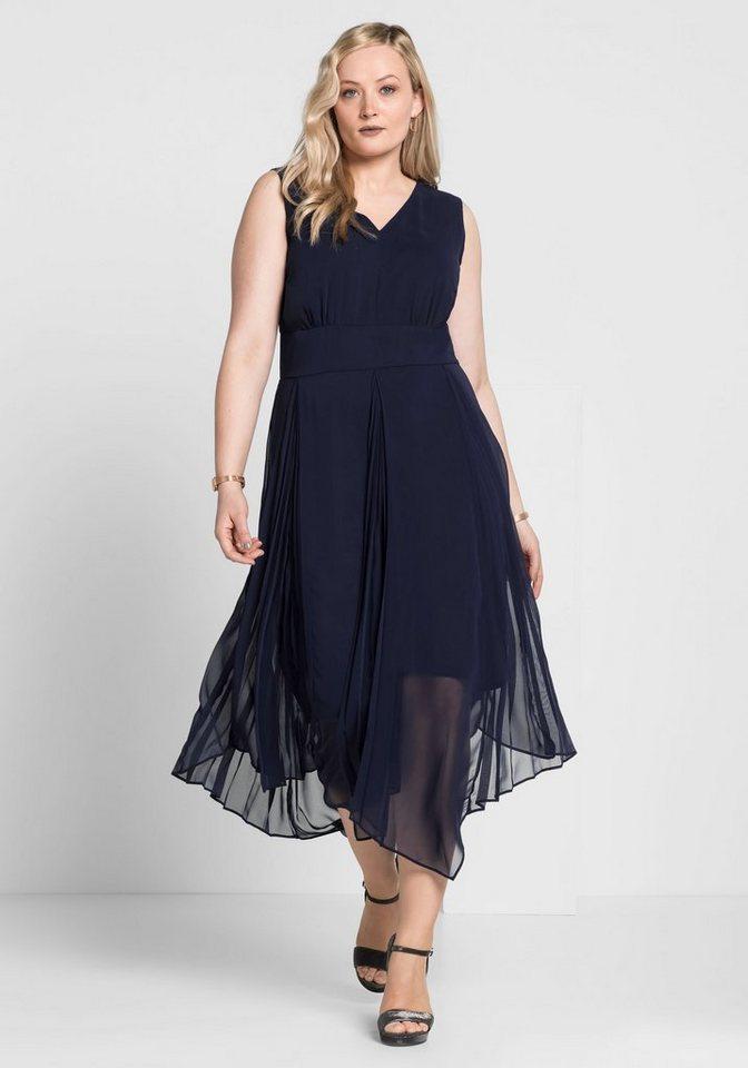 Festtagsmode - Sheego Abendkleid mit Plisee Falten › blau  - Onlineshop OTTO