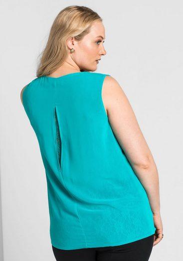 sheego Style Blusentop, mit Schlitz im Rücken;
