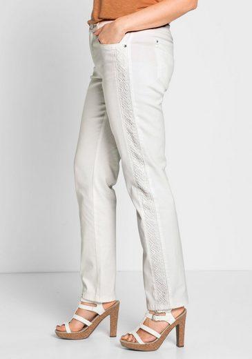 sheego Style Stoffhose, Taschen mit Schmuckstein besetzt