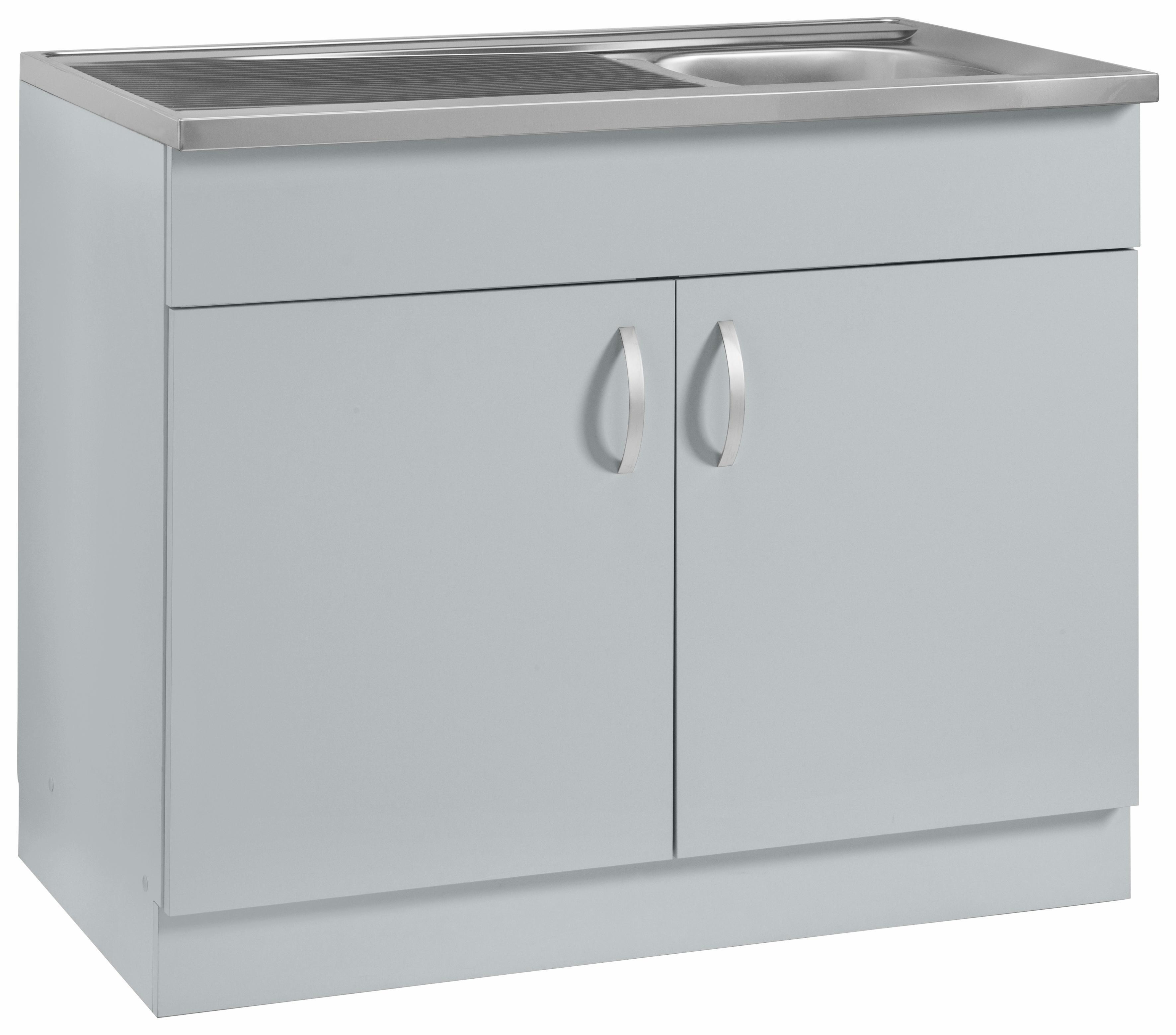 Spülenschrank »Amrum« | Küche und Esszimmer > Küchenschränke > Spülenschränke | Hellgrau - Weiß - Rot - Schwarz - Lila | Glänzend - Melamin | wiho Küchen