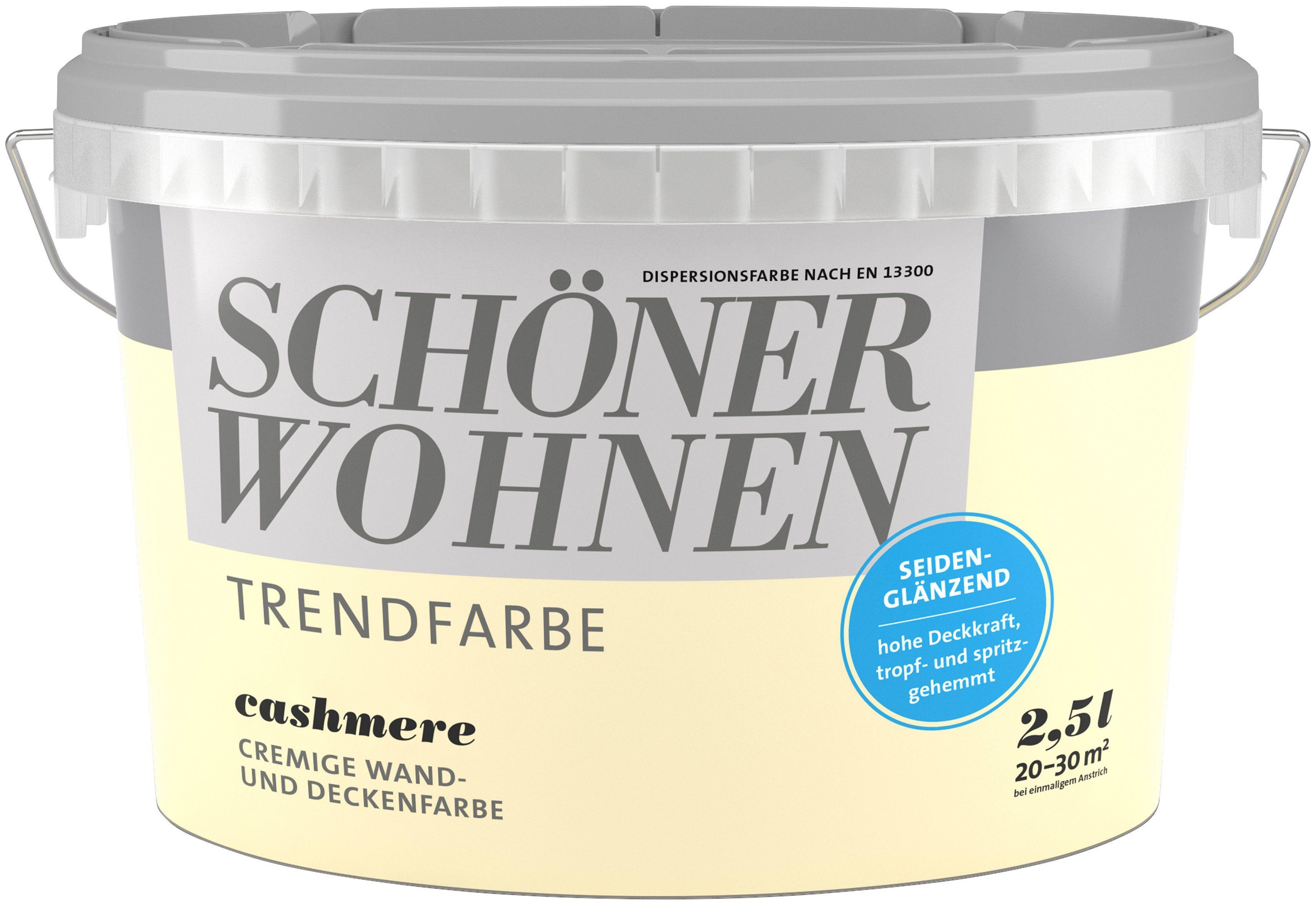 SCHÖNER WOHNEN FARBE Wand- und Deckenfarbe »Trendfarbe Cashmere, seidenglänzend«, 2,5 l