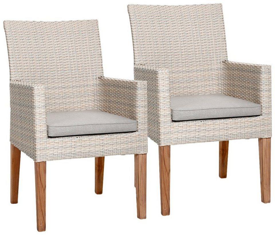 gartenstuhl alicante 2er set polyrattan teakholz altwei inkl sitzkissen online kaufen. Black Bedroom Furniture Sets. Home Design Ideas