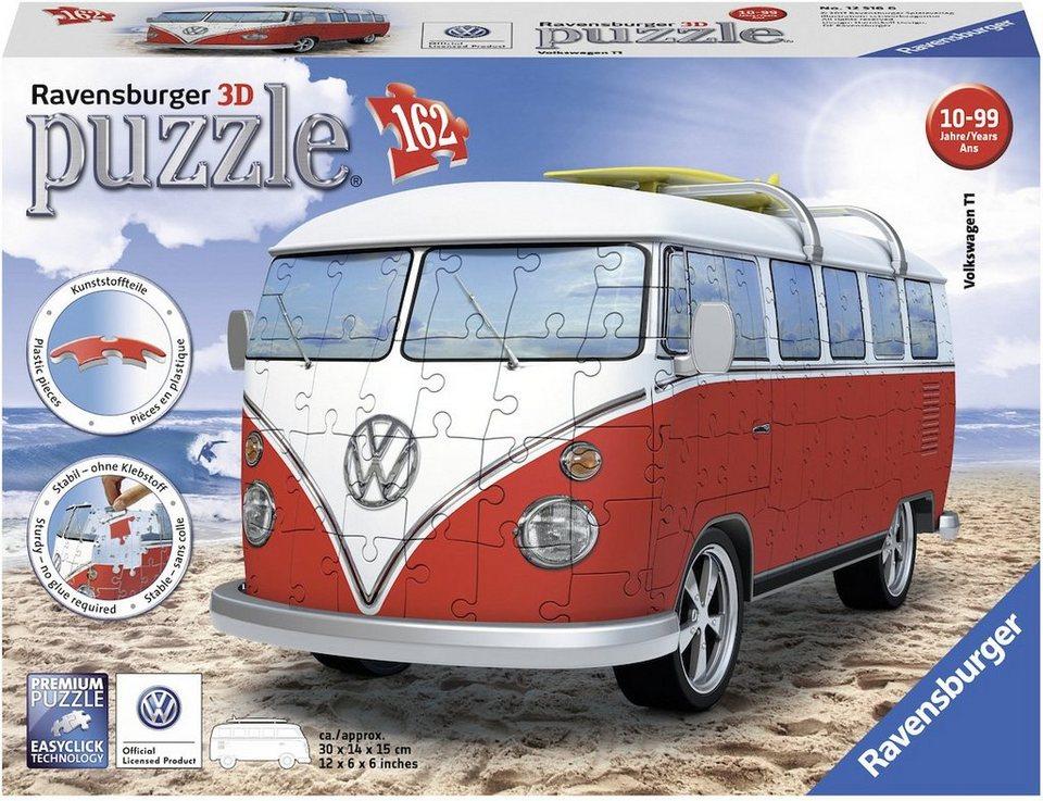 ravensburger 3d puzzle 162 teile volkswagen bus t1. Black Bedroom Furniture Sets. Home Design Ideas