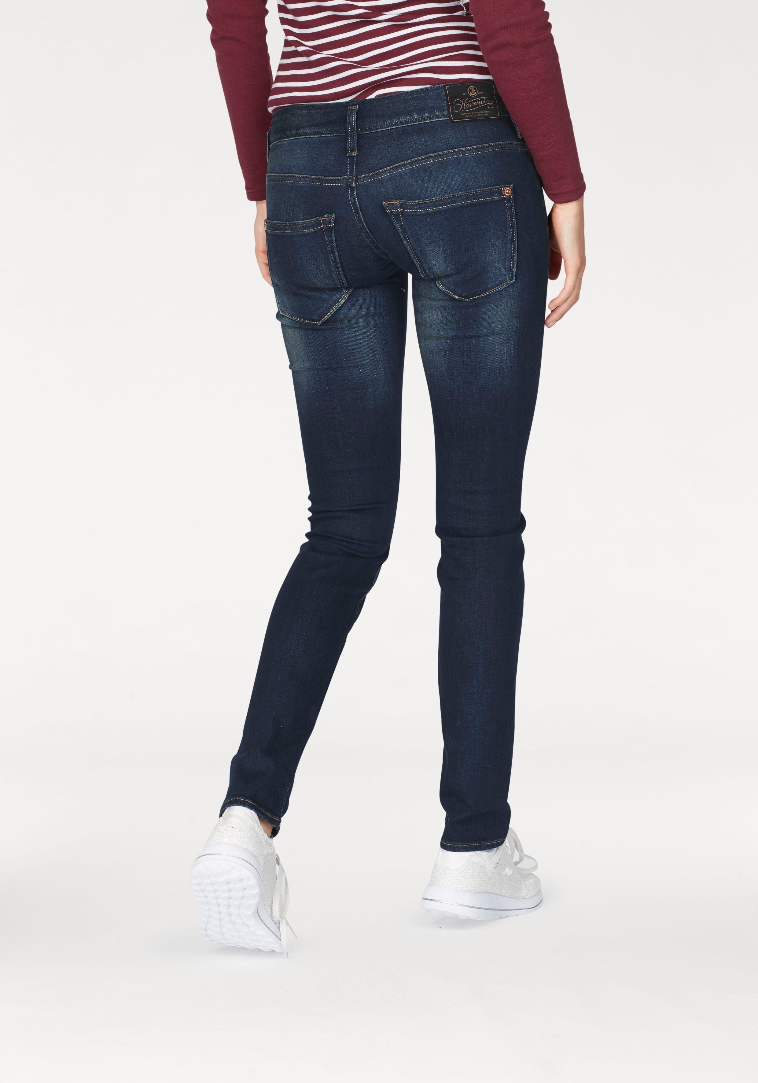 Damen Herrlicher Slim-fit-Jeans Shyra Slim, mit extratiefen Taschen blau   04053192478740